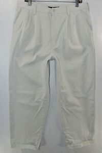 Nike Golf Cotton Pleated Front Pants Mens Size 36 White Meas. 34x29 Short