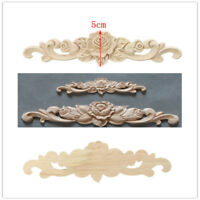 OrnamentWood Carving Applique Unpainted Flower Applique Woodcarving Decal 20x5cm