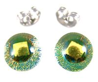 "Tiny DICHROIC EARRINGS Post 1/4"" 8mm Clear Golden Yellow Fused GLASS STUDS"