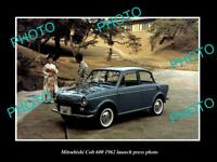 OLD POSTCARD SIZE PHOTO OF 1962 MITSUBISHI COLT 600 LAUNCH PRESS PHOTO
