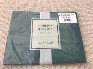 Vintage Hamilton McBride England 2 X Pillowcases Dark Forest Green Bottle Plain