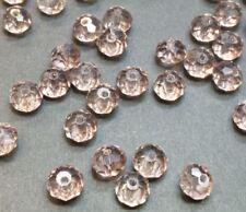 20 perles 8x6mm à facettes en verre rose //6