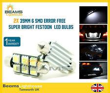 NEW 2x 39mm 6 SMD LED 239 C5W NO ERROR BMW 3 Series E30 E36 E46 E90 E92 Bulbs