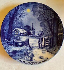 Wandteller Porzellan Weihnachten 1997 Echt Kobald Winter im Vogtland Kronester