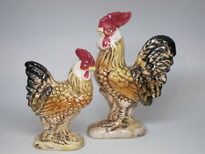 Vintage Made in Japan Ceramic Rooster Hen Figurines Chicken Country 1960s Pair