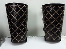 LEATHER  CARVED VIKING GAUNTLETS. FOLK BLACK  (MDLG0131)..... IN THE WOODS'S...