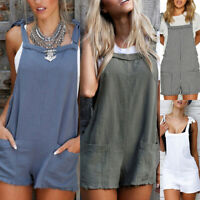 UK Womens Holiday Mini Playsuit Jumpsuit Summer Beach Dress Shorts Size 8 - 20