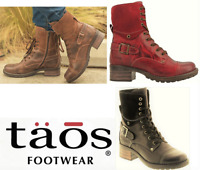 Taos Shoes Lace up Boots with zip leather low heel - Taos Footwear Crave