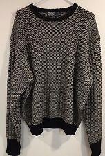 Ralph Lauren Polo Women's 100% Wool Size Xl Black & White Pullover Sweater EUC