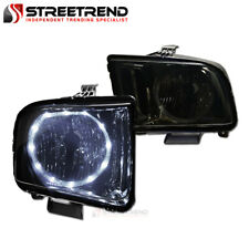For 2005 2009 Ford Mustang Smoke Housing Halo Led Headlights Headlamps Pair Nb Fits Mustang