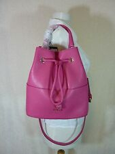 NWT FURLA GLOSS Pink Pebbled Leather Brooklyn Bucket Tote Bag $388 Made in Italy