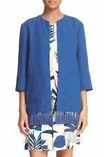 NWT Tory Burch 'Emily' Fringe Trim Linen Jacket Size 2 $325.00