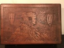 Rare ART NOUVEAU HAND CARVED MAIDEN & LOTUS FLOWER WOOD JEWELRY BOX, 1890s