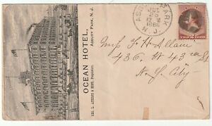 1886 OCEAN HOTEL ASBURY PARK N J USA ILLUSTRATED ADVERTISING COVER GEORGE ATKINS