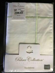 Yves Delorme Athena Thevert King Sham White Green Stripe Cotton Percale $150 NWT