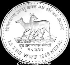 1986 Nepal 250$ Rupee Silver Proof Coin WWF Wildlife Preservation Musk Deer Rare