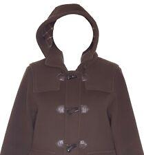 Brooks Brothers Womens Coat Large Duffle Toggle 100% Wool Hood Brown Winter