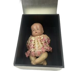 Antique Composition Baby Doll Unmarked 9 Inch Blue Eyes