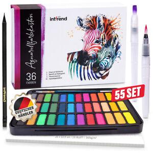 int!rend Aquarellfarbkasten 36 Farben, Aquarellpapier, Bleistift, 2 x Wassertank