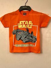 BOYS OFFICIAL LICENSED ORANGE STAR WARS T SHIRT FUN CUTE MILLENNIUM FALCON BNWT