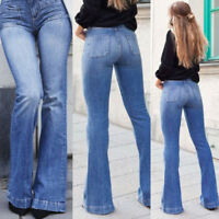 Women Skinny Flare Denim Jeans Retro Bell Bottom Stretch Pants Trousers US 4-14