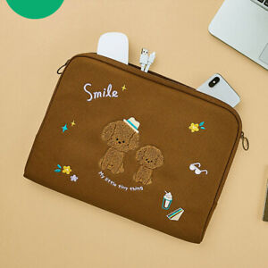 """High Quality 13"""" Brown Poodle Padded Canvas Laptop Notebook Pouch Document Bag"""