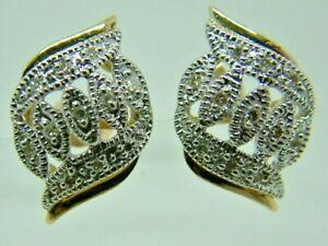 VERY PRETTY VINTAGE LOOK 9CT YELLOW WHITE GOLD FANCY DIAMOND STUD EARRINGS