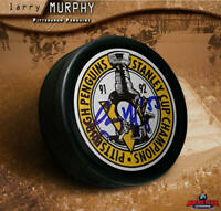 LARRY MURPHY Signed 1991-92 Stanley Cup Champions Pittsburgh Penguins Puck