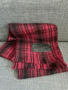 Dsquared Red Tartan Check Cashmere Wool Silk Blend Leather Patch Scarf Dsquared2