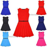 New Girls Plain Retro Skater Dress with Belt Age Size 7 8 9 10 11 12 13 years