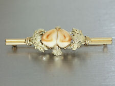 Brosche Gold 585 mit 2 Grandln (Hirschzähne) - Trachtenbrosche in 14 kt Gold