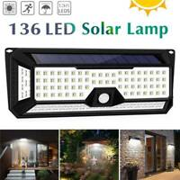 136 LED Solar Powered Sensor Light PIR Motion Garden Outdoor Security Wall Lamps