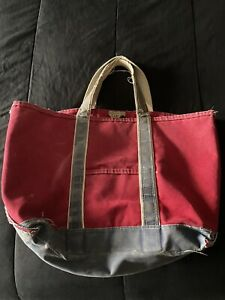 VTG Trashed LL Bean Freeport Maine Boat & Tote Bag Red/Navy Blue with White Trim