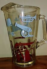 """Vtg Colonial Federal Symbols Glass Pitcher 10"""" Musket Spinning Wheel Cannon Ship"""