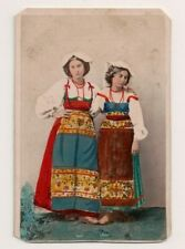 Vintage CDV Hand tinted 2 Roman Girls traditional National Costume