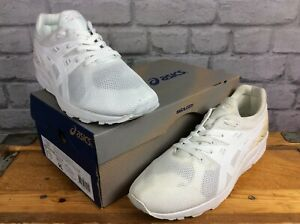 ASICS MENS GEL KAYANO EVO TRIPLE WHITE VARIOUS SIZES CASUAL WHITE HEEL TRAINERS