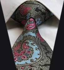 Mens Tie in Pink Blue Black Gold & Brown Silk Floral Paisley Wedding Necktie