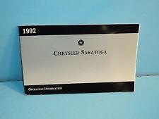 92 1992 Chrysler Saratoga owners manual