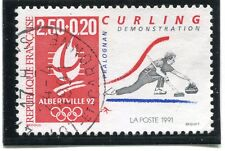 STAMP / TIMBRE FRANCE OBLITERE N° 2680 JEUX OLYMPIQUES ALBERVILLE CURLING