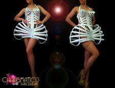 Glossy White boned leather Bondage Inspired cage corset Madonna costume