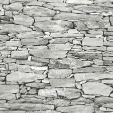 3D Realistic Brick Effect Wallpaper Stone Slate Rustic Weathered Grey Debona