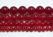 Red Jade Beads 4mm-6mm-8mm-10mm-12mm Real Stone 15.5
