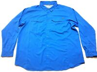 Columbia Mens Blue Front Pocket Button Front Long Sleeve Shirt Size 2XL