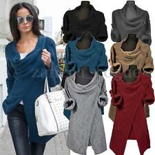 Zanzea Women's Cowl Neck Jumper Cardigan Coat Wrap Sweater Blouse Tops Outwear