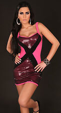 SEXY MINI DRESS FUCHSIA PINK BLACK SEQUINS BODY CON PARTY COCKTAIL LOW BACK SM