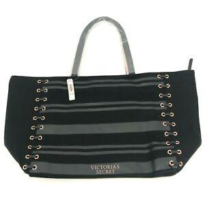 NEW Victoria's Secret Weekender Tote Bag Black Canvas Striped Zip Extra Large