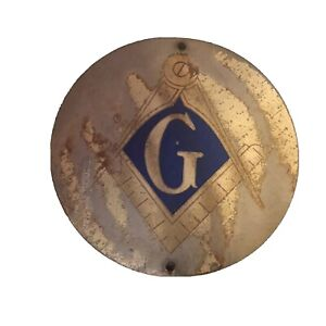 """ANTIQUE FREEMASON'S LODGE 30"""" x 30"""" ROUND METAL SIGN-OUTDOOR SIGN-AUTHENTIC AGED"""