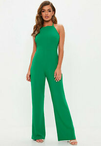 Missguided Green 90's Neck Wide leg Jumpsuit
