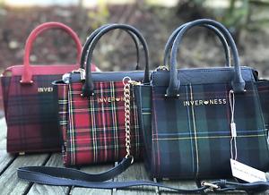 Inverness New Ladies Tartan Check Plaid Monica Small Cross Body Bag/Handbag