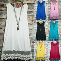 Womens Summer Lace Up Sleeveless Long Vest Dress Casual Plus Size Tank Top Loose